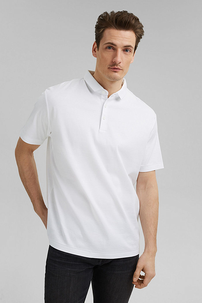 On the move: jersey polo shirt, 100% organic cotton, WHITE, detail image number 0