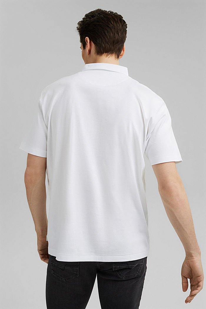 On the move: jersey polo shirt, 100% organic cotton, WHITE, detail image number 3