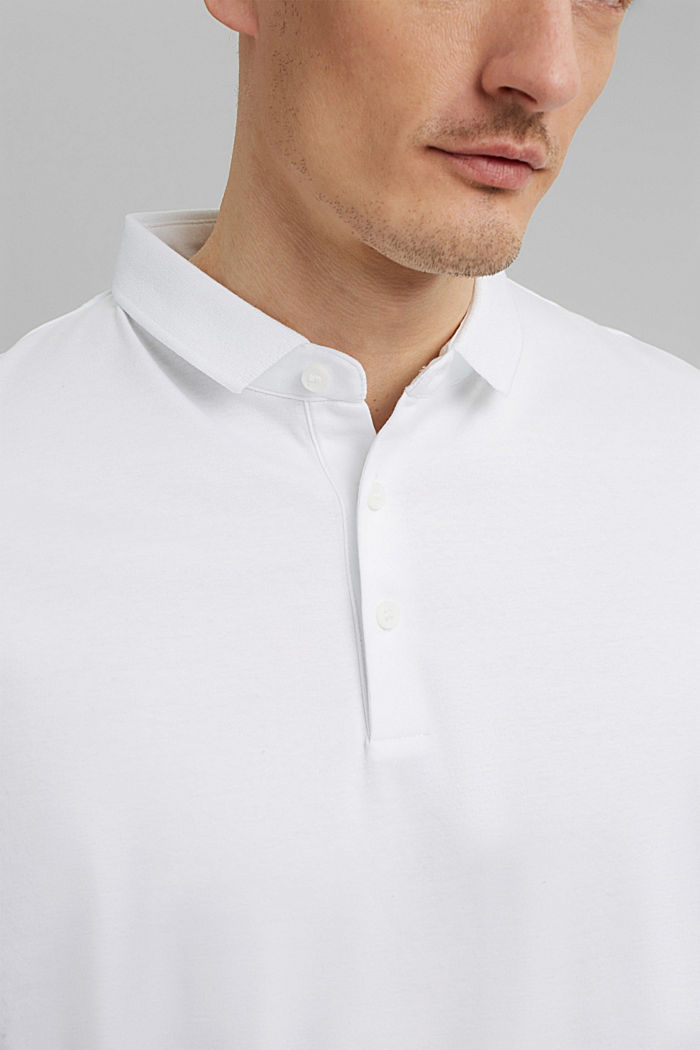 On the move: jersey polo shirt, 100% organic cotton, WHITE, detail image number 1