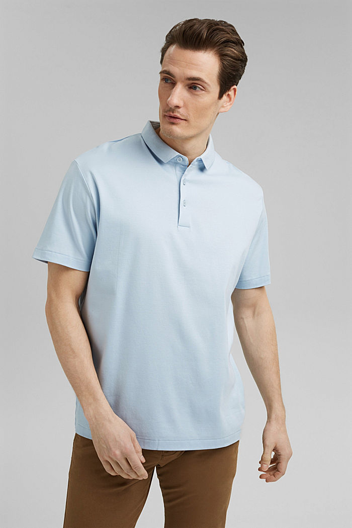On the move: jersey polo shirt, 100% organic cotton, LIGHT BLUE, detail image number 0