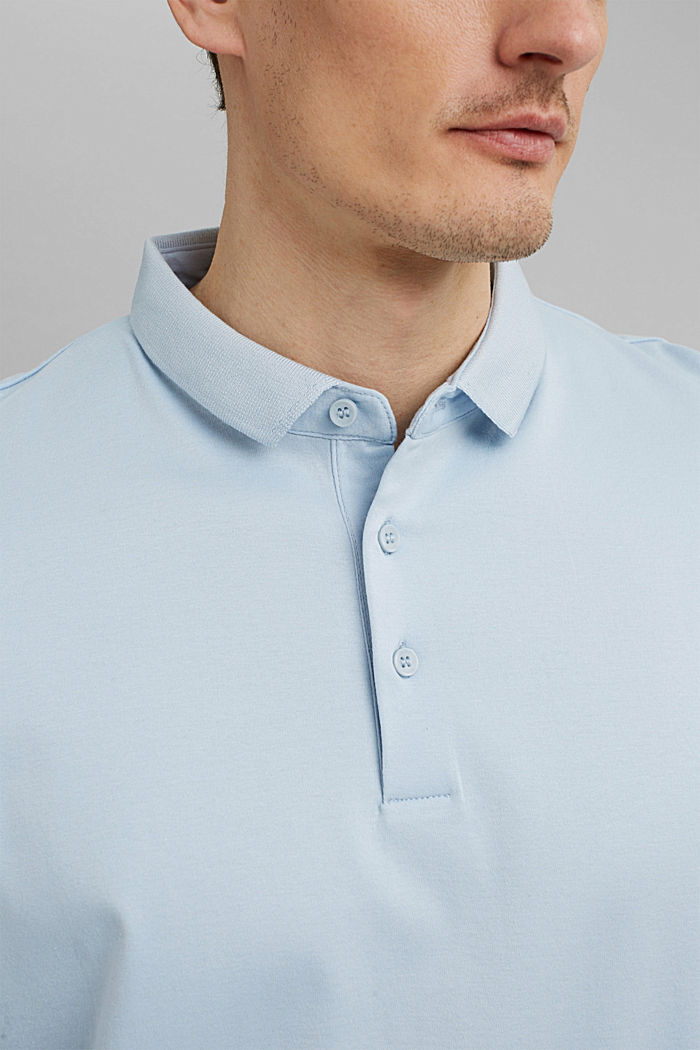 On the move: jersey polo shirt, 100% organic cotton, LIGHT BLUE, detail image number 1