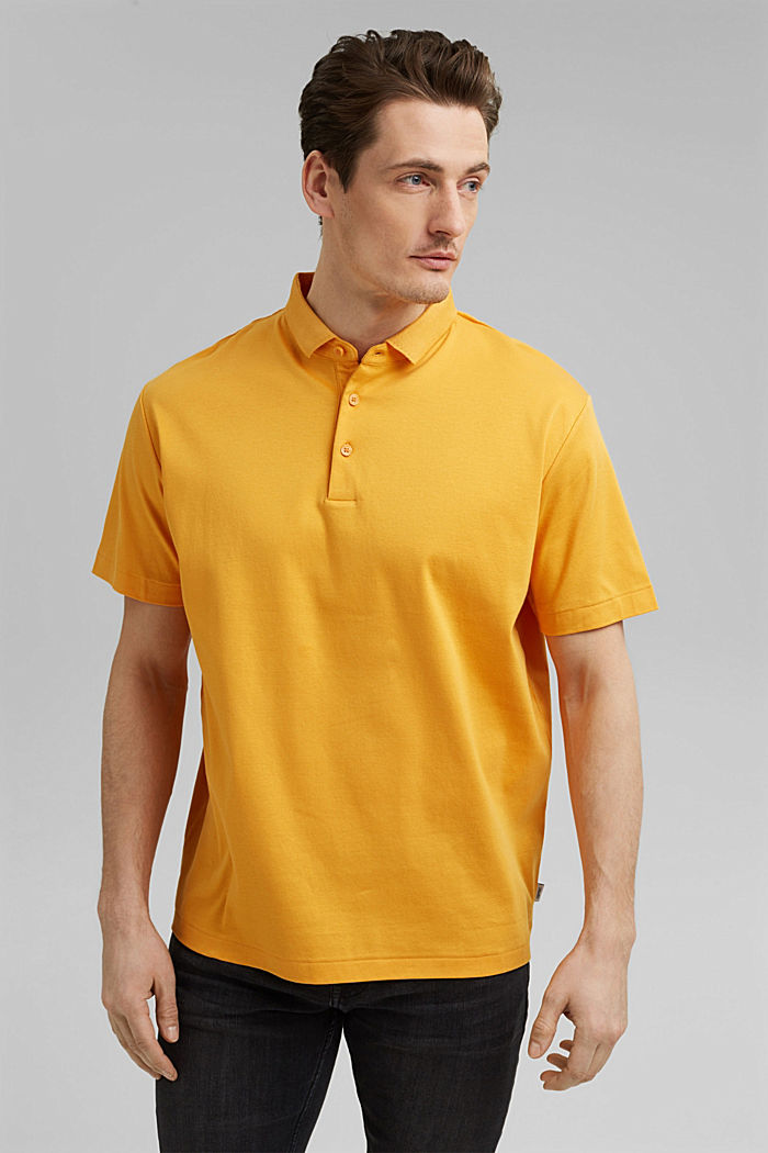 On the move: jersey polo shirt, 100% organic cotton, SUNFLOWER YELLOW, detail image number 0
