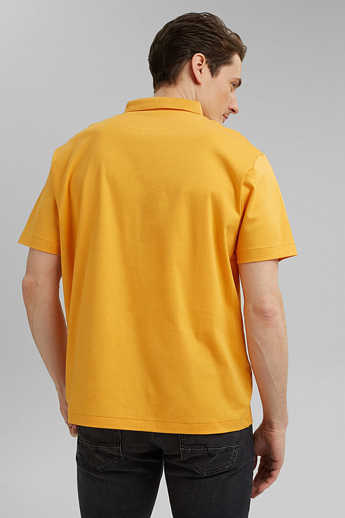 On the move: jersey polo shirt, 100% organic cotton, SUNFLOWER YELLOW, detail image number 3
