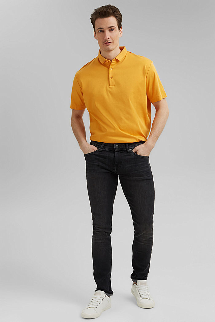 On the move: jersey polo shirt, 100% organic cotton, SUNFLOWER YELLOW, detail image number 2