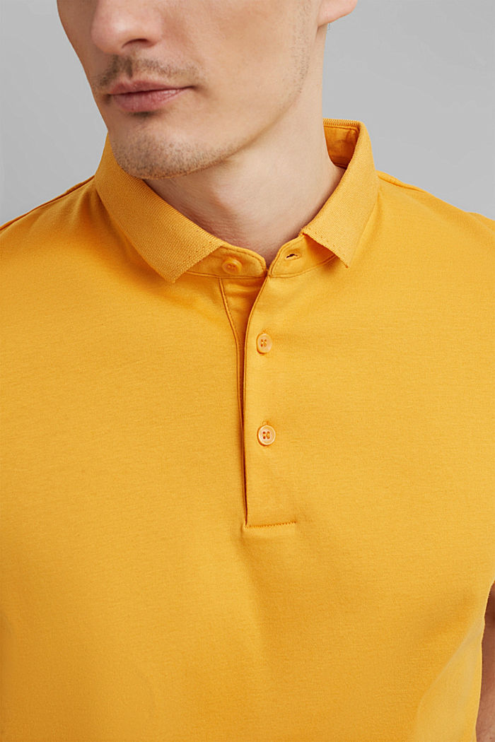 On the move: jersey polo shirt, 100% organic cotton, SUNFLOWER YELLOW, detail image number 1