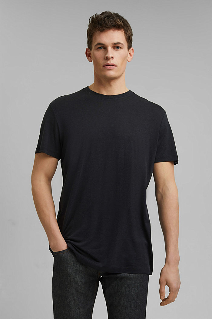 Jersey T-shirt made of lyocell(TENCEL™)/wool, BLACK, detail image number 0