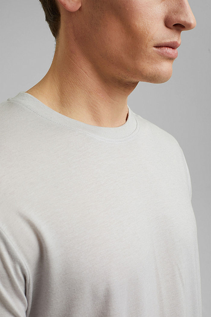 Camiseta de jersey en lyocell (TENCEL™) y lana, LIGHT GREY, detail image number 1