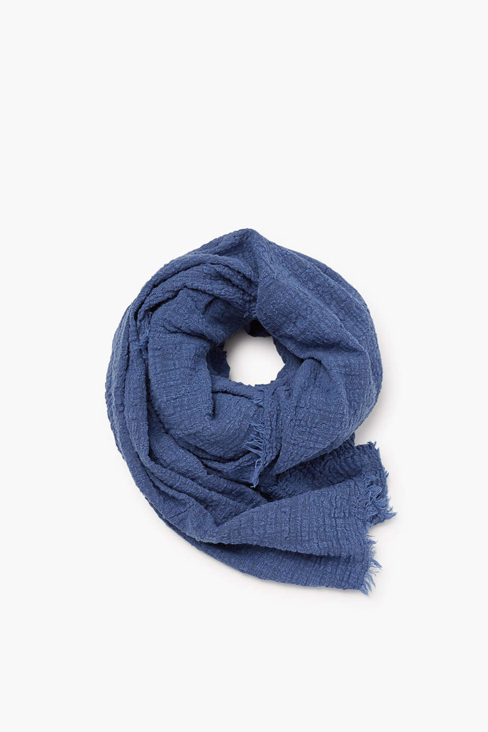 Soft scarf in pure cotton with a brushed, woven texture
