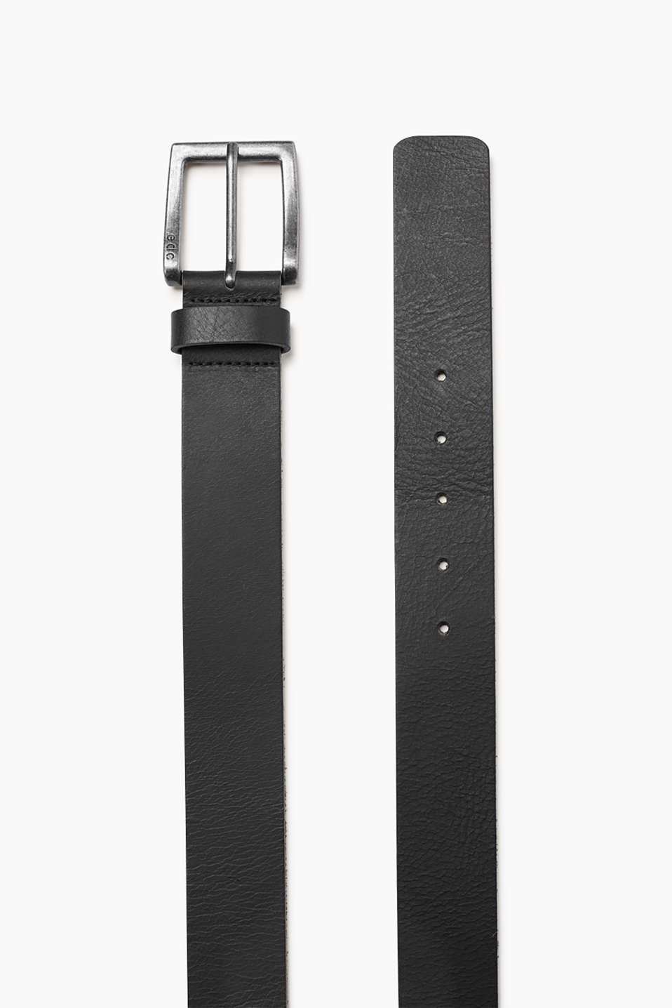 Casual buffalo leather belt with a vintage metal buckle