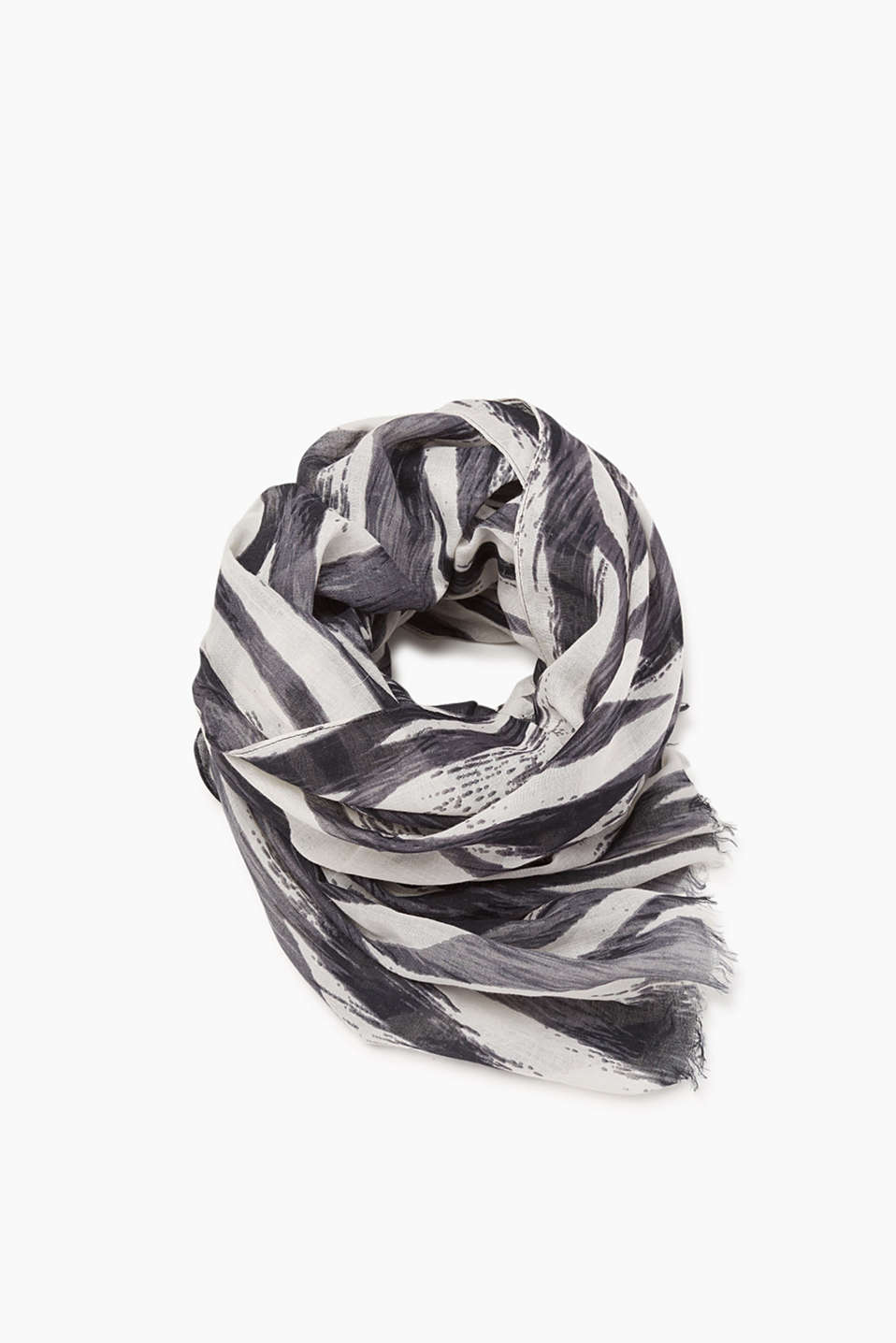 Esprit - Wide scarf with a zebra print, cotton blend