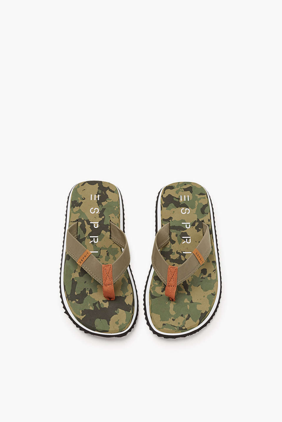 Ultra light, toe-post sandals with stylish, camouflage soles and comfy, textile straps in robust nylon