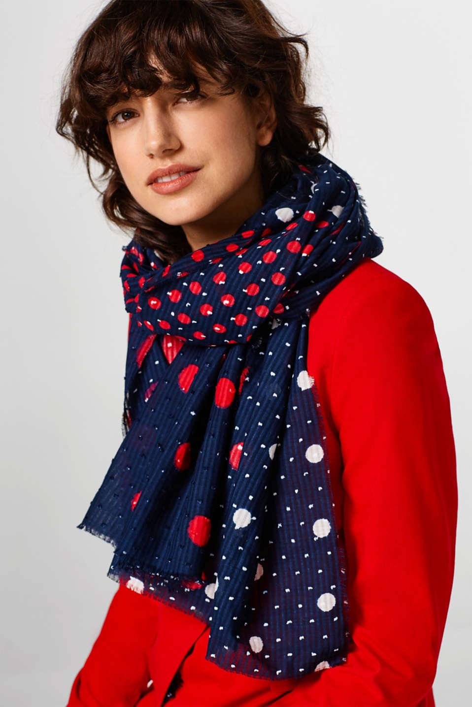 Cotton scarf with polka dots
