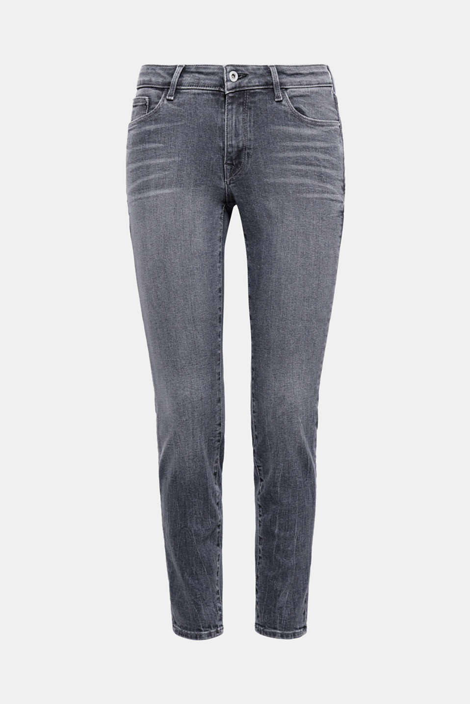 These slim-fitting jeans in a trendy grey tone are made of garment-washed cotton denim with a percentage of stretch.
