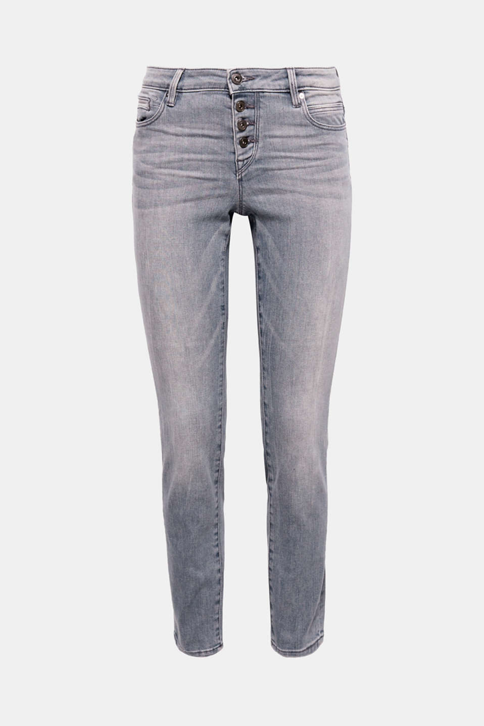 The grey trendy garment wash with washed-out effects and a visible button placket give these jeans their cool, casual look.
