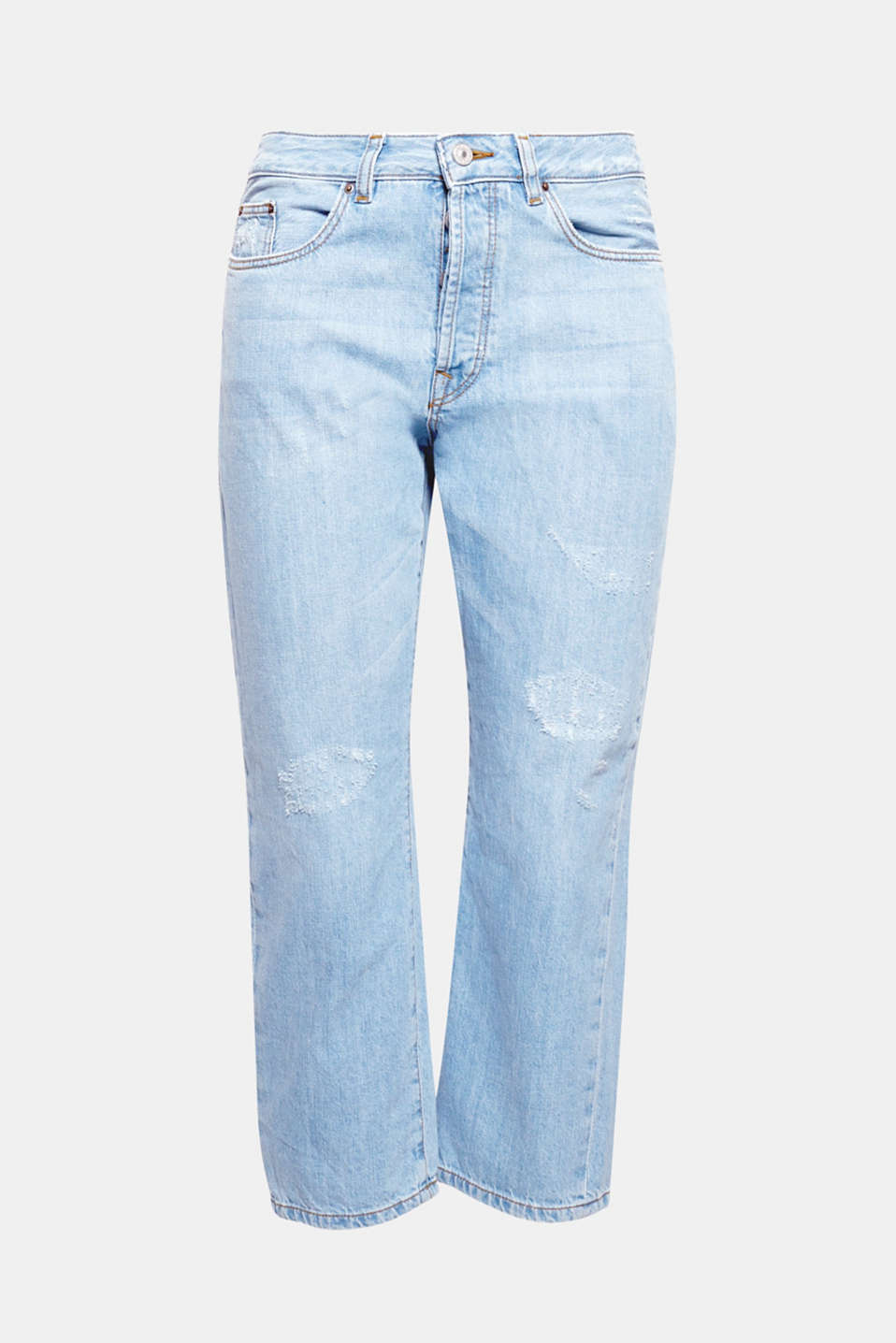 Disse stumpede mom-jeans i light washed bomuldsdenim med cool ripped-effekter.