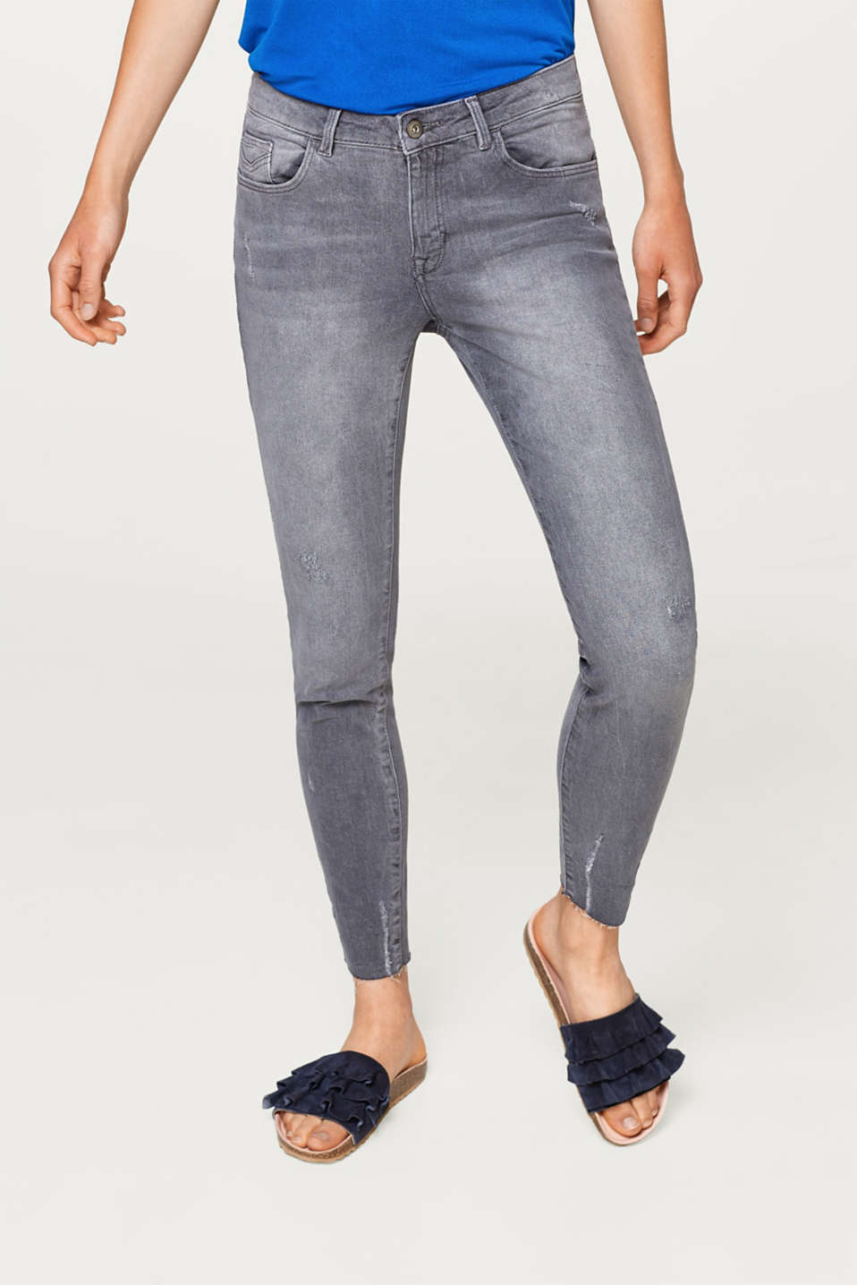 edc - Cropped distressed stretch jeans