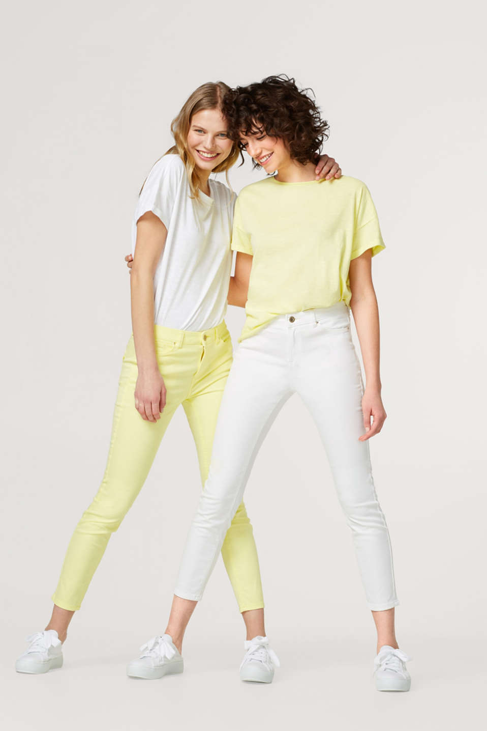Stretch cotton ankle-length trousers