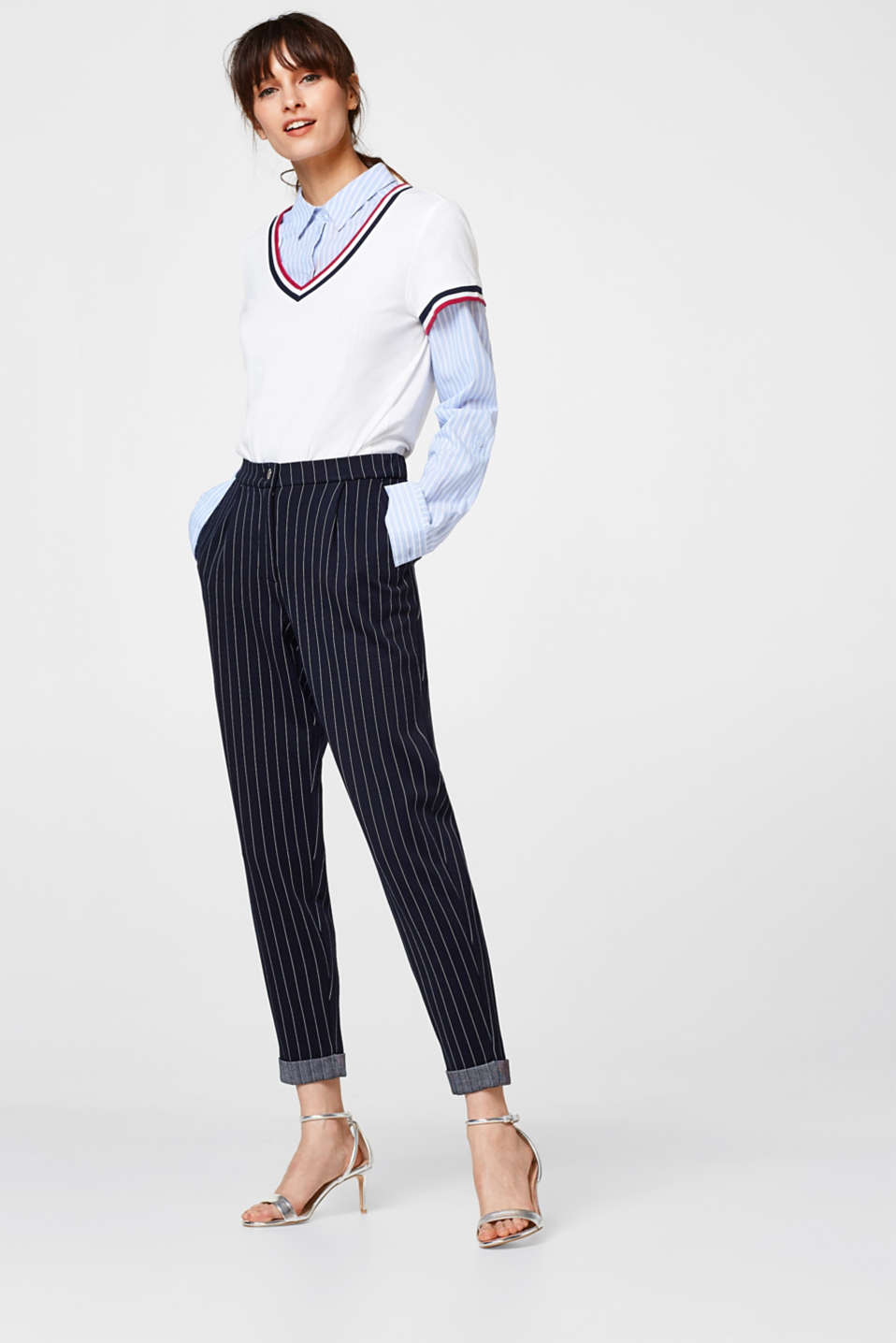 edc - Pinstriped chinos in tracksuit fabric