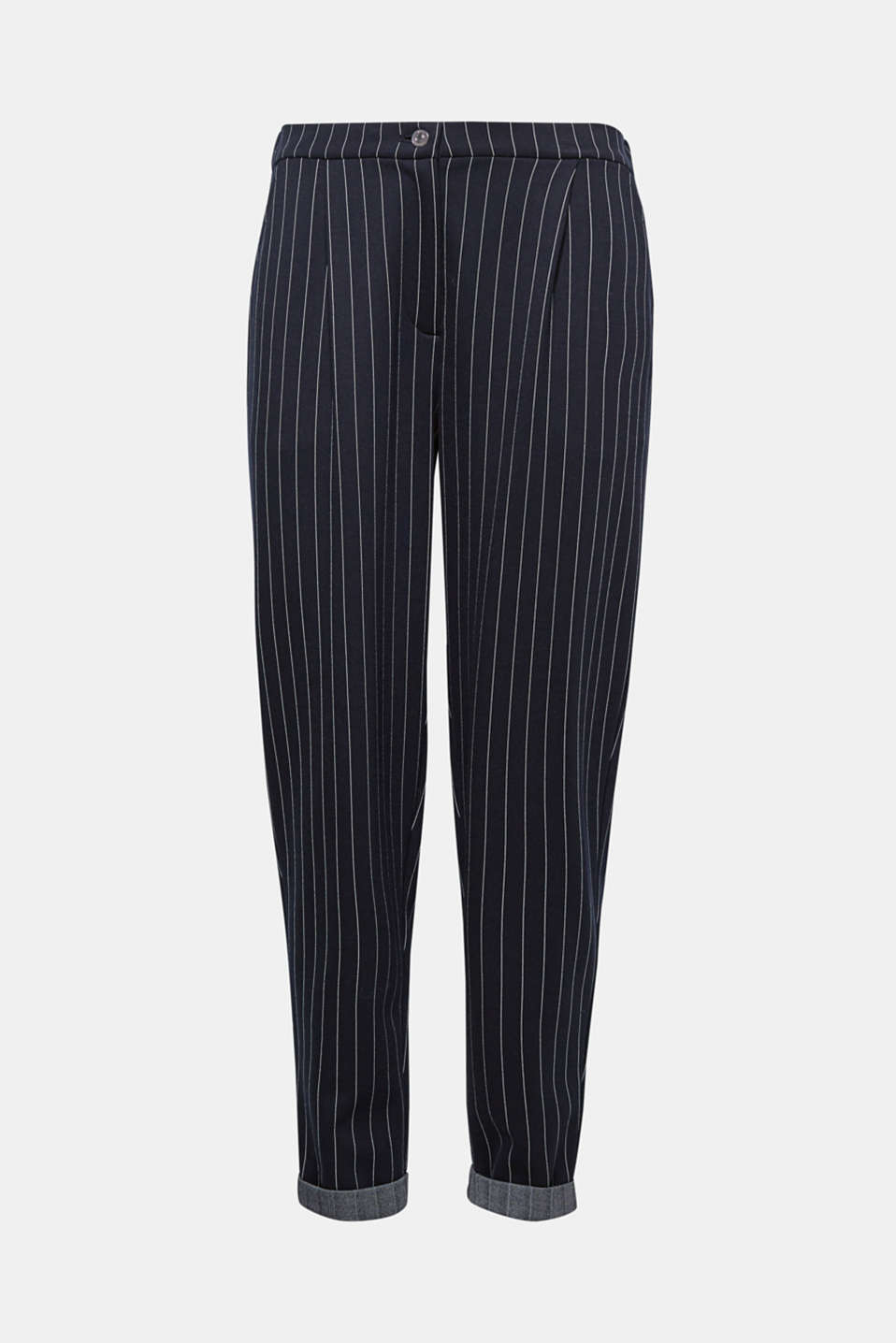 À porter en version classique, tendance ou sportive : le pantalon à fines rayures en molleton super confortable.