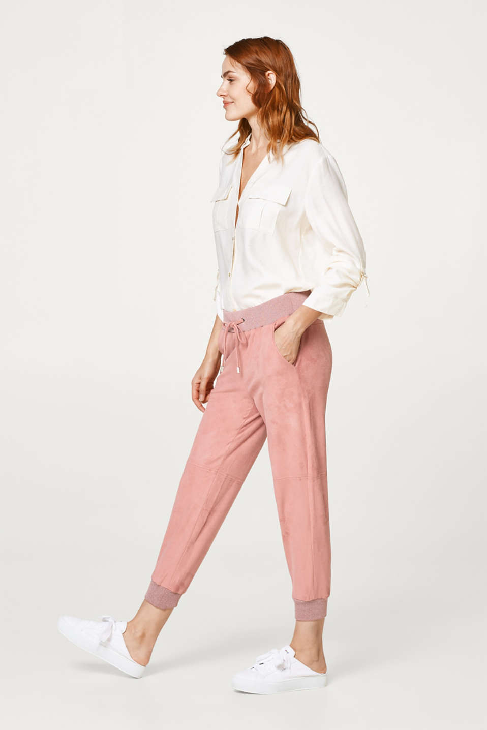 edc - Soft jogger-style velour trousers