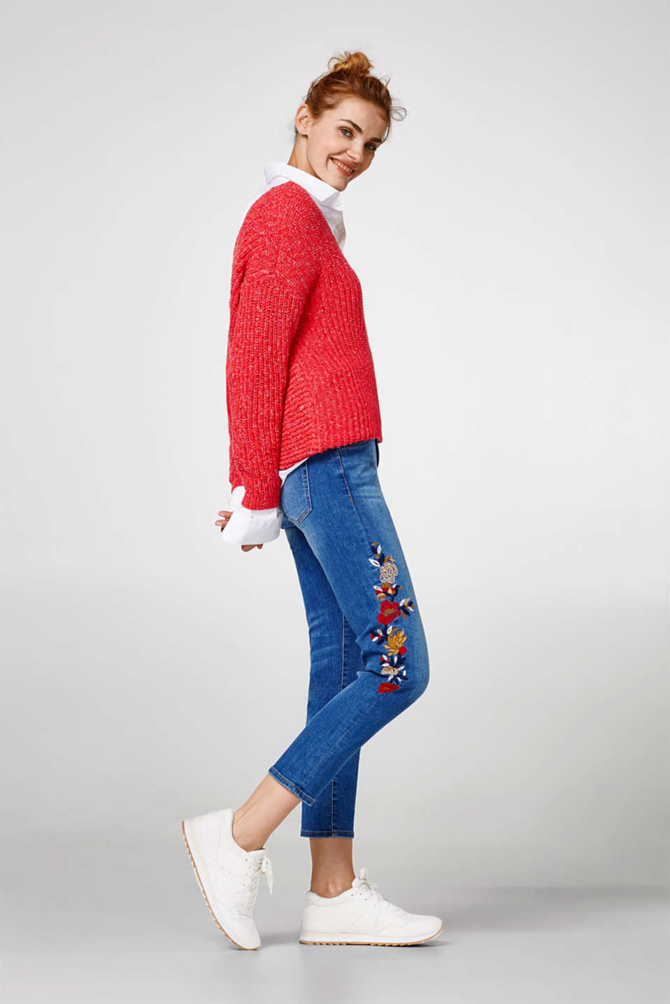 edc - Jeans stretch cropped con ricami