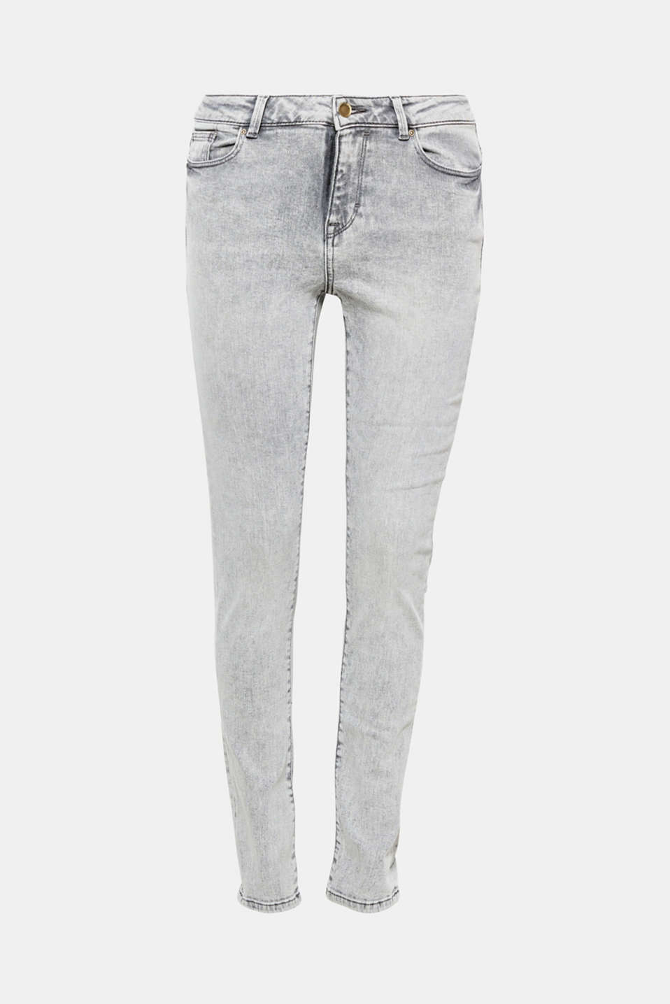 In a cool grey tone with an acid style garment wash: these narrow five-pocket jeans in stretchy cotton.