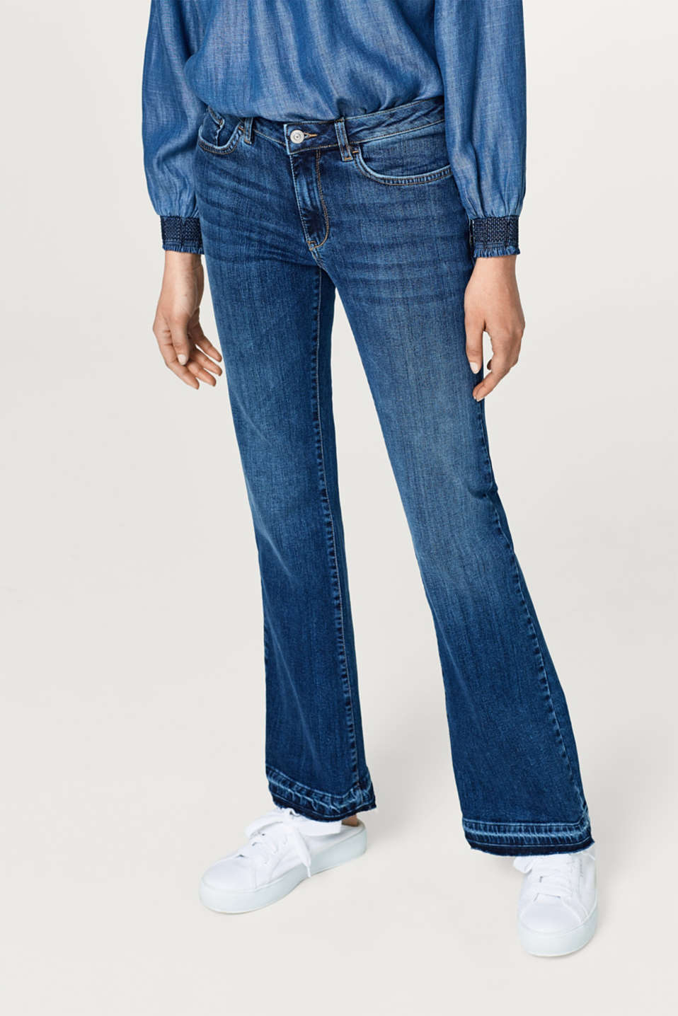 edc - Stretch jeans with frayed hems