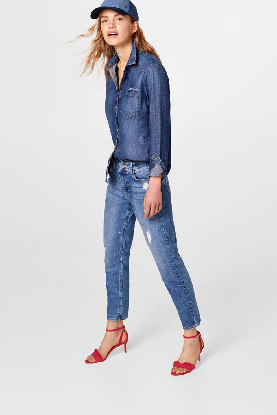 Stretch jeans with flecks of colour