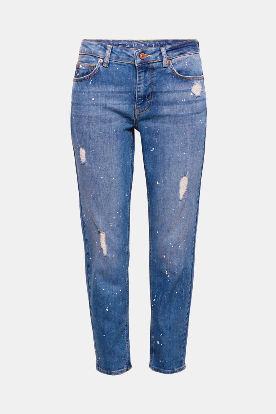 Distressed effects, the casual boyfriend cut and positioned flecks of colour make these jeans a highlight!