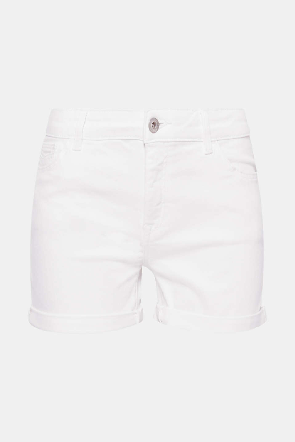 These pure white denim shorts made of comfortable stretch cotton are a must-have for your summer wardrobe!