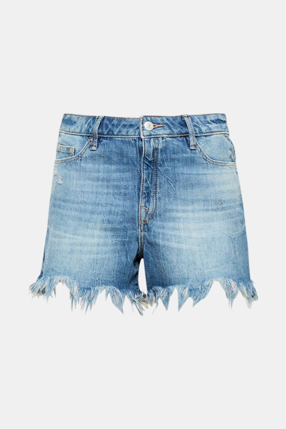 Must-have piece: These denim shorts are super casual thanks to the bold garment-washed effects and the fray hems.