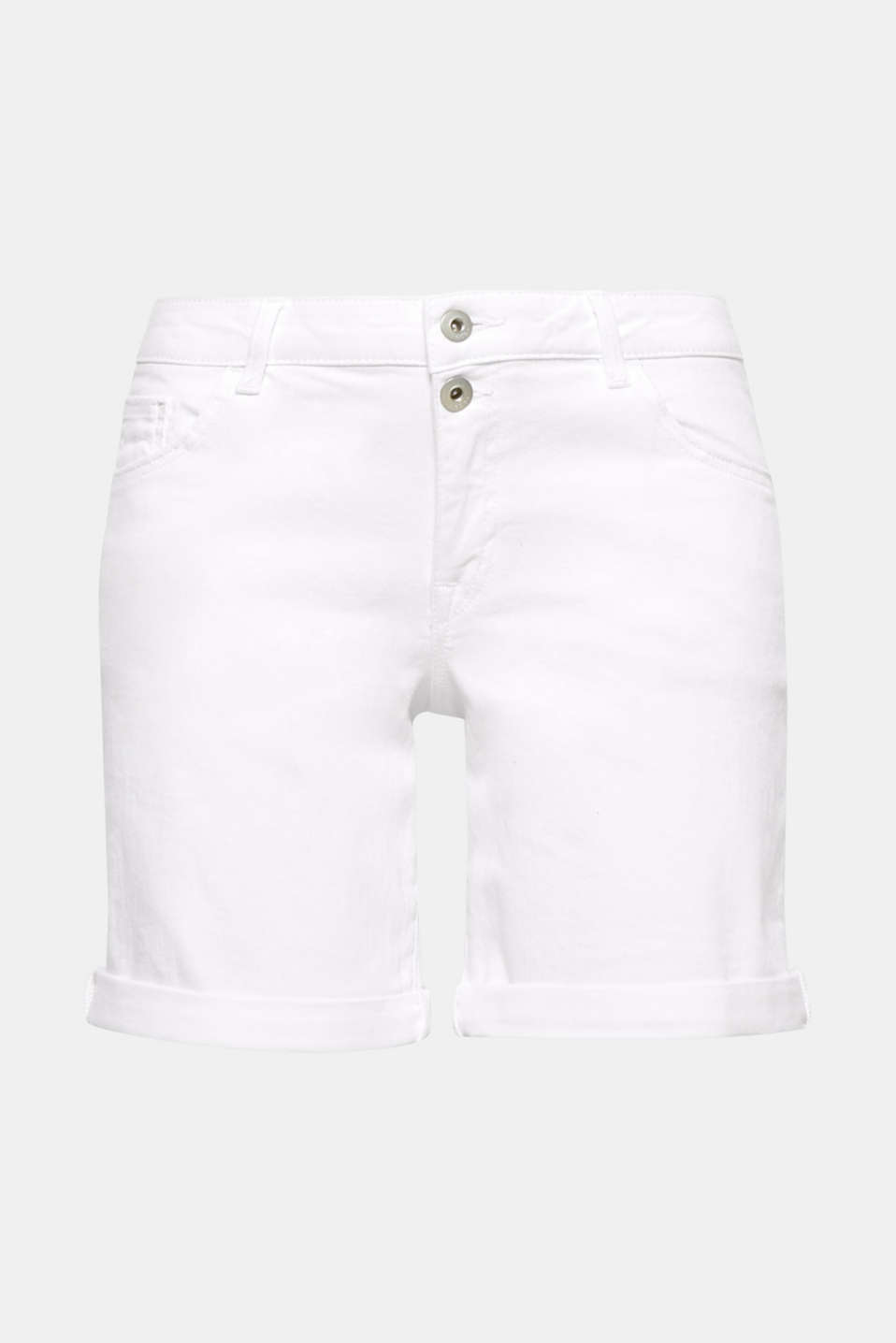 A must-have for your summer wardrobe: clean white cotton denim shorts with added stretch for comfort