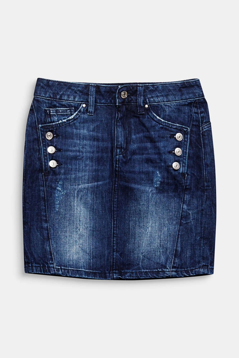 We love denim! The destroyed detailing and 2 side button plackets make this skirt extremely eye-catching.