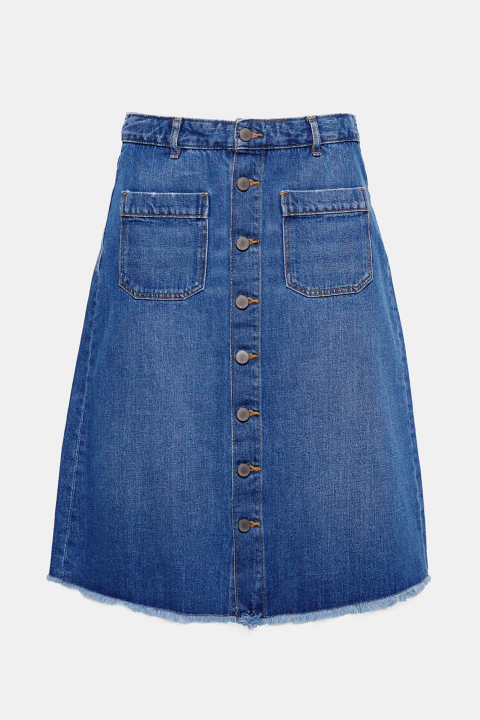 Our denim favourite: this flared skirt with a button placket, stylish midi length and casual frayed hems.