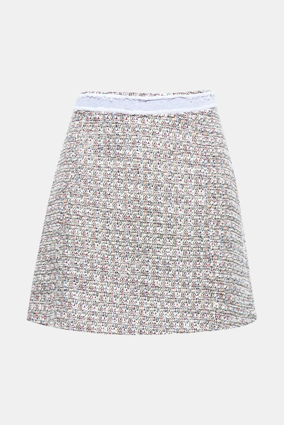 The sweatshirt waistband with open edges and interwoven, shimmering thread give this bouclé skirt a super-stylish finish!