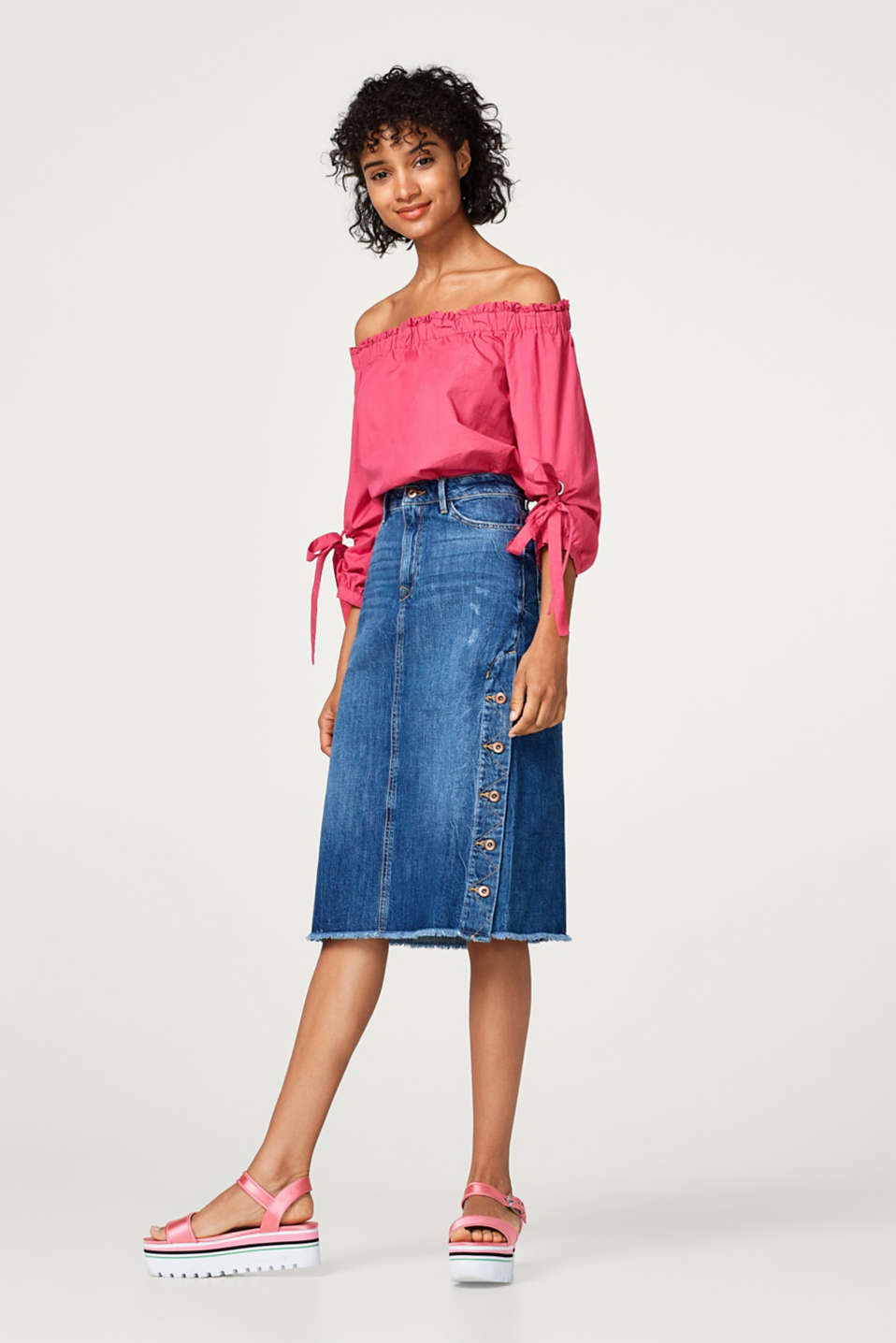 Midi-length cotton denim skirt