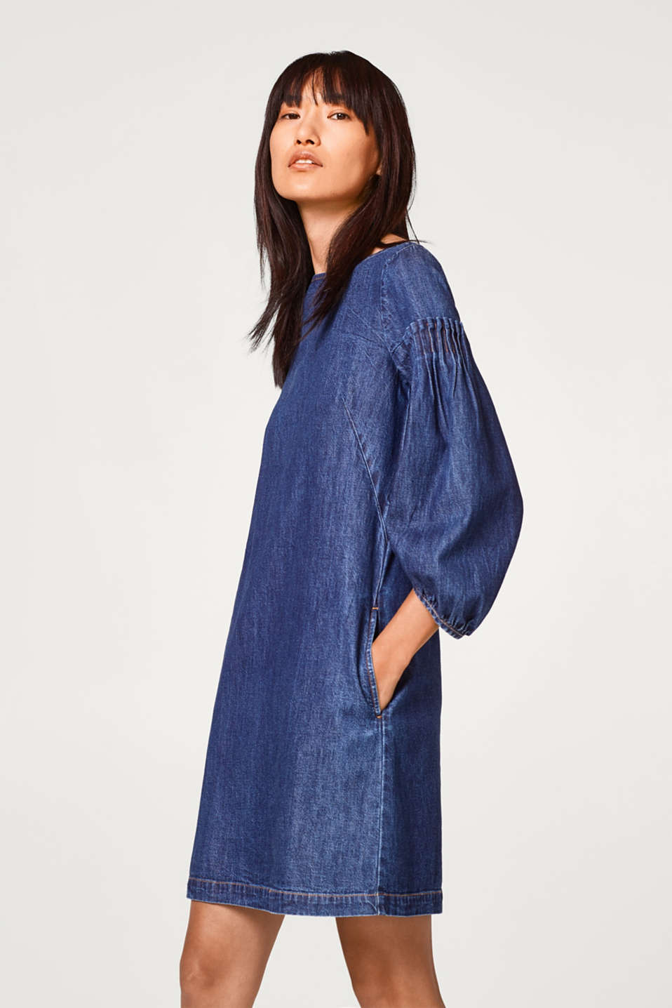 2018 New Sale Online Balloon Sleeve Denim Dress - Blue Esprit Discount Limited Edition TXaNBG4Icy