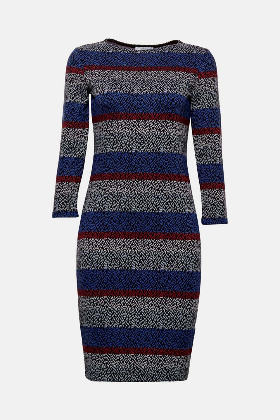 So easy, so feminine: this bodycon sweatshirt dress with a decorative ikat pattern.