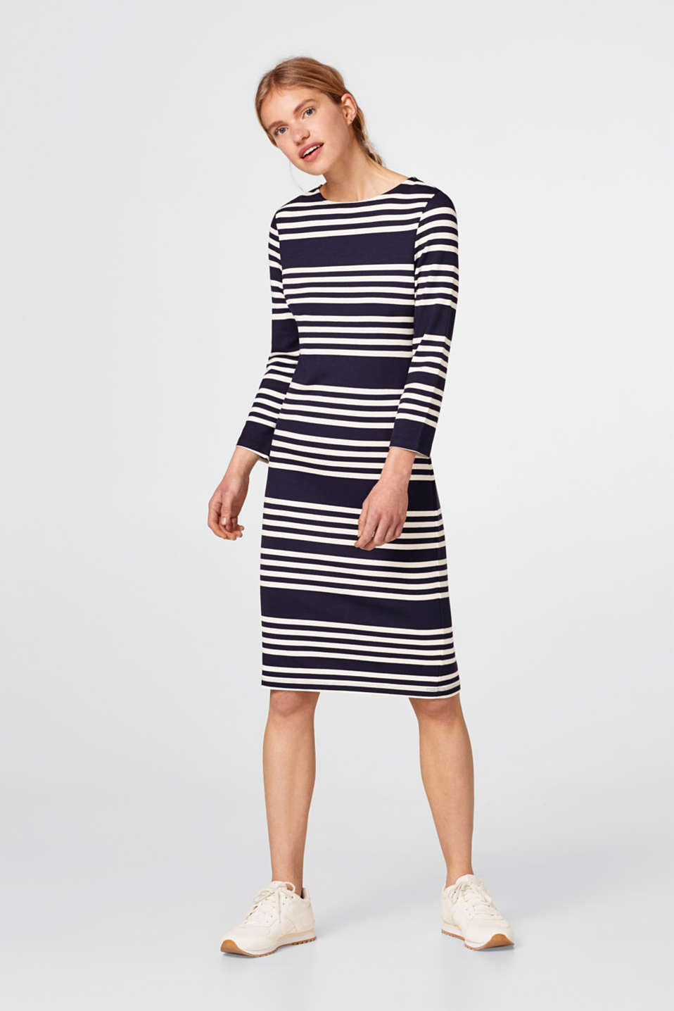 Robe rayée en jersey stretch