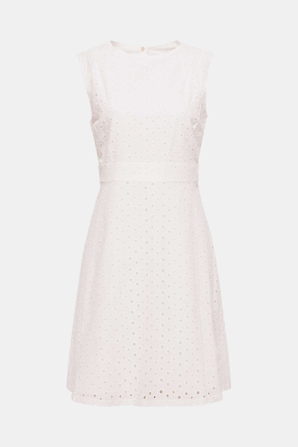 Our fave for feminine spring and summer looks: this flared cotton dress featuring exquisite broderie anglaise.