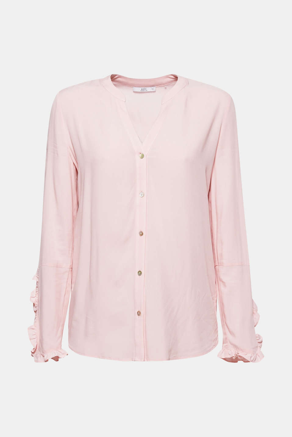 So pure and so feminine, this figure-skimming blouse features pretty frilled accents and a Henley neckline.