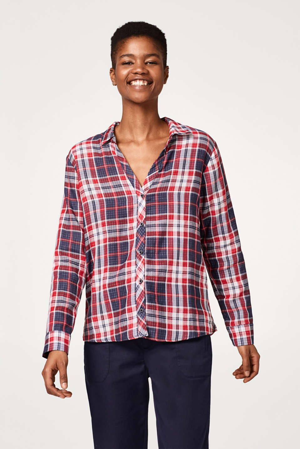 edc - Checked double-faced blouse in cotton