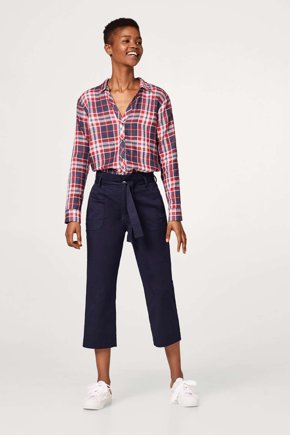Checked double-faced blouse in cotton