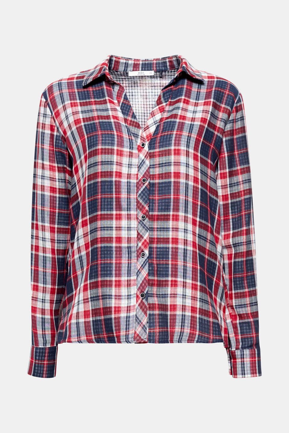 Ensures a trendy country charm and is very comfortable to wear: this checked blouse in soft double face fabric.