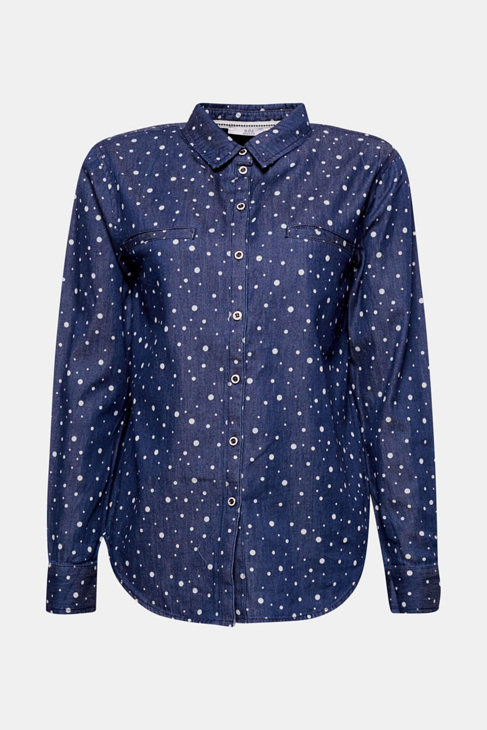 Charming polka dots: shirt blouse in soft cotton denim with an all-over polka dot print