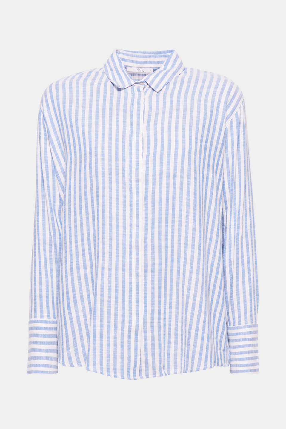 This casually cut shirt blouse with vertical stripes and a concealed button placket is a casual favourite