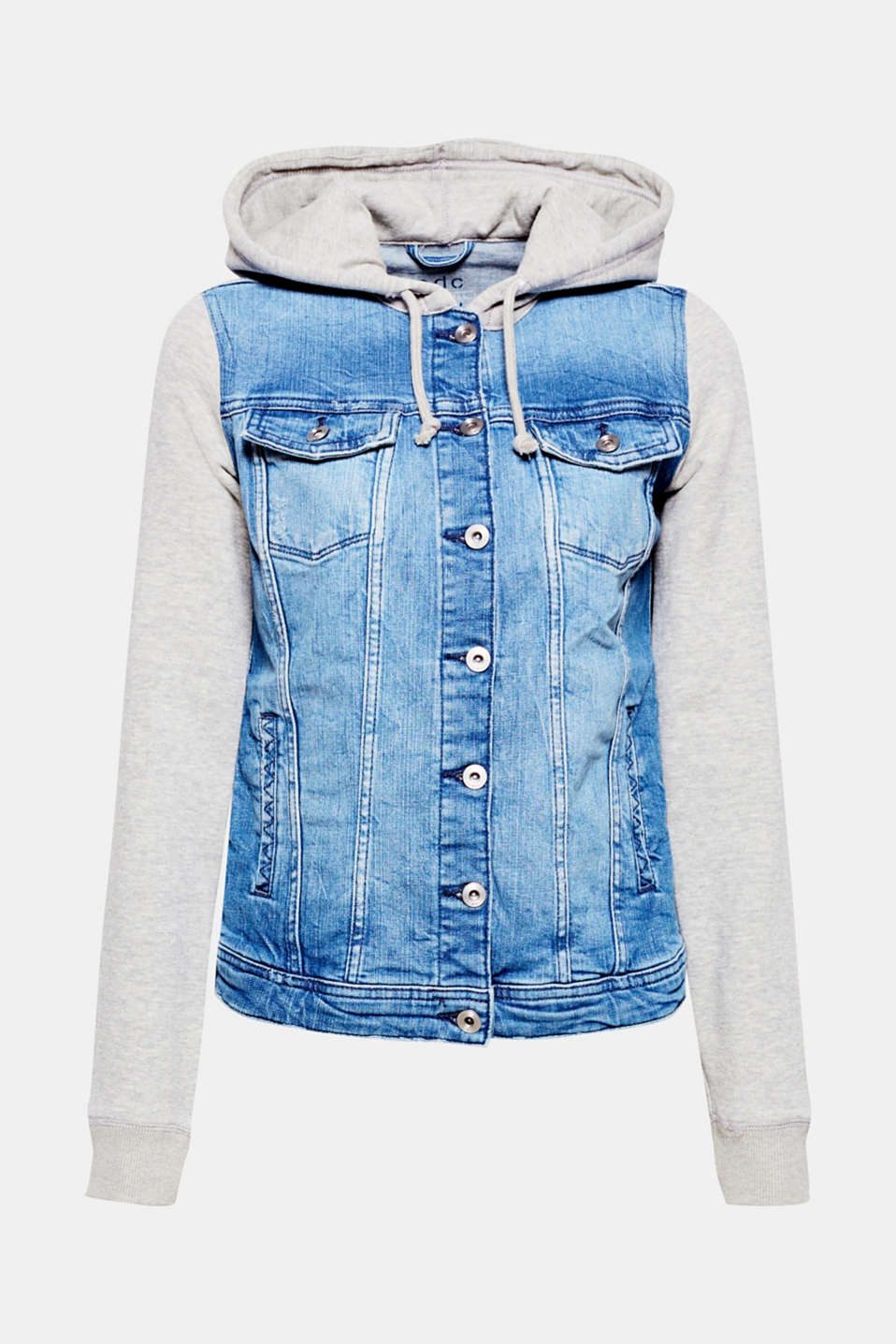 A casual, comfortable favourite piece in a trendy, layered design: Denim jacket with sleeves and hood in soft sweatshirt fabric.