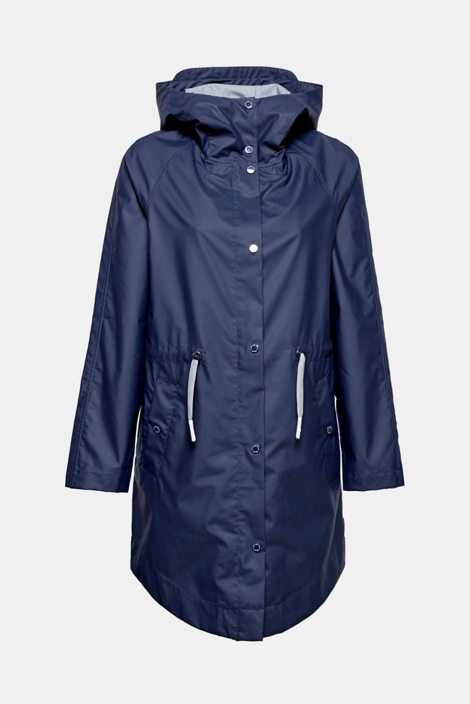 This rain parka made of water-resistant blended cotton with a hood and drawstring panel is functional and super casual!