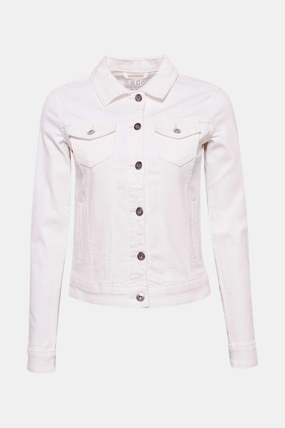 This denim jacket in pure white cotton denim with added stretch for comfort creates a fresh, cool look.