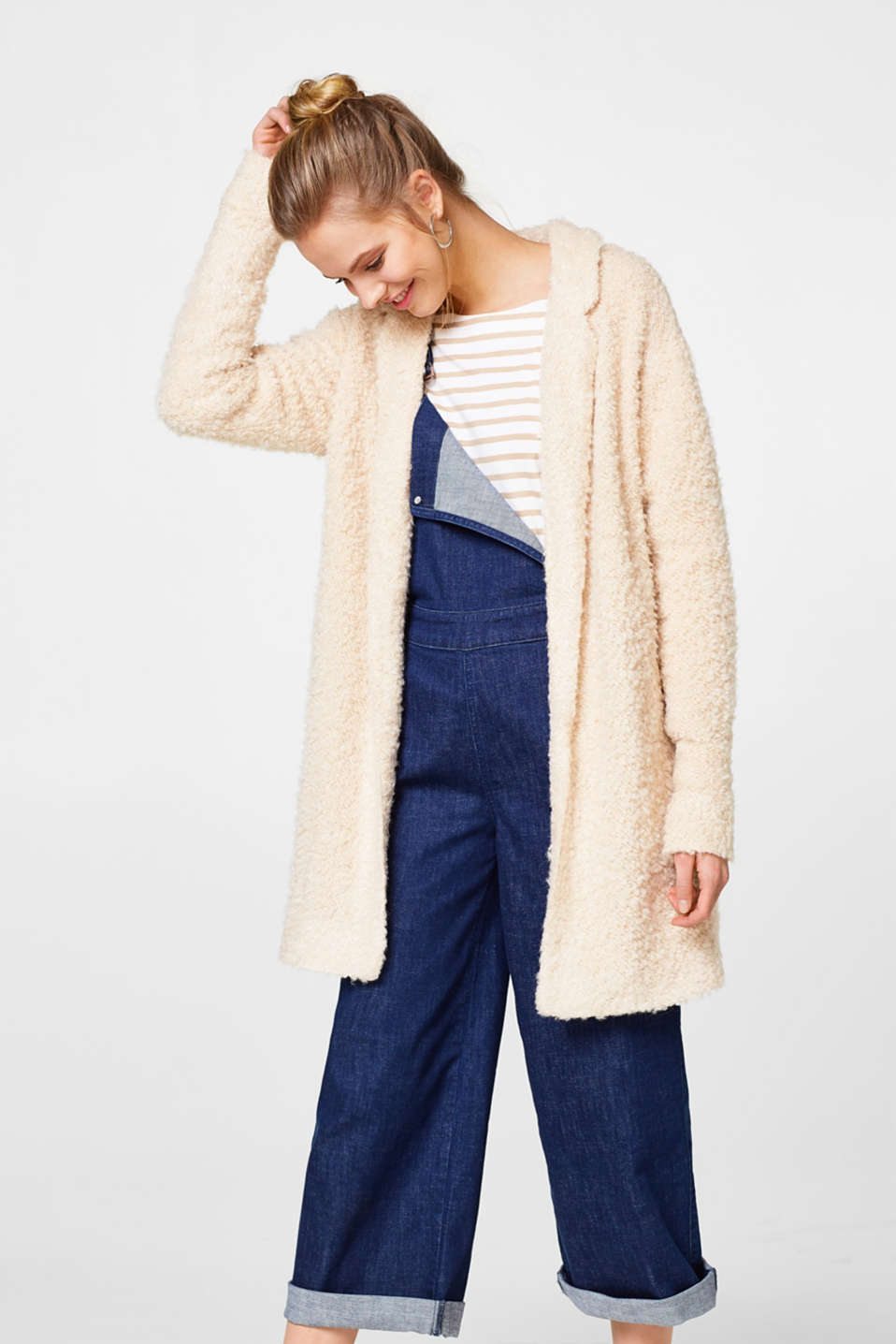 edc - Open bouclé jacket with wool